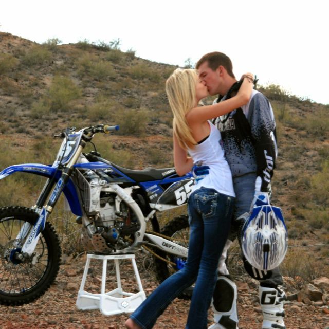 These will be perfect engagement photos! Only with a Kawasaki!