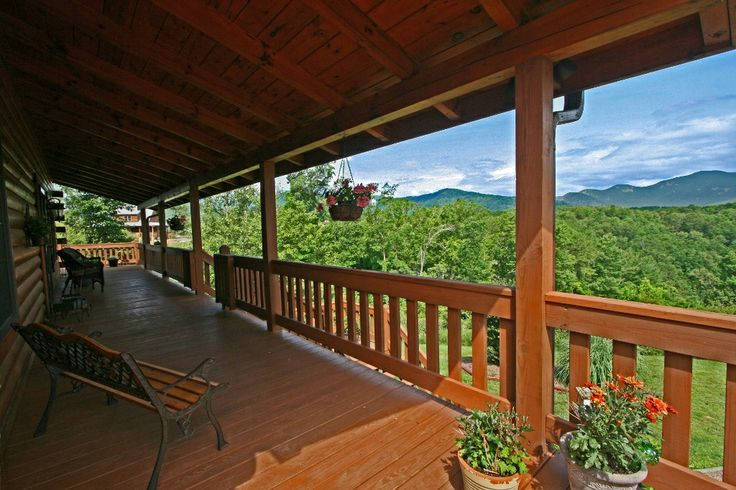 Think your #LakeLure log home needs a big open deck? I urge you to find a home with a deck which is partially covered for those North Carolina rainy days! #MrLakeLure