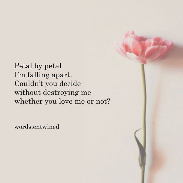 Petal by petal I'm falling apart. Couldn't you decide without destroying me whether you love me or not?