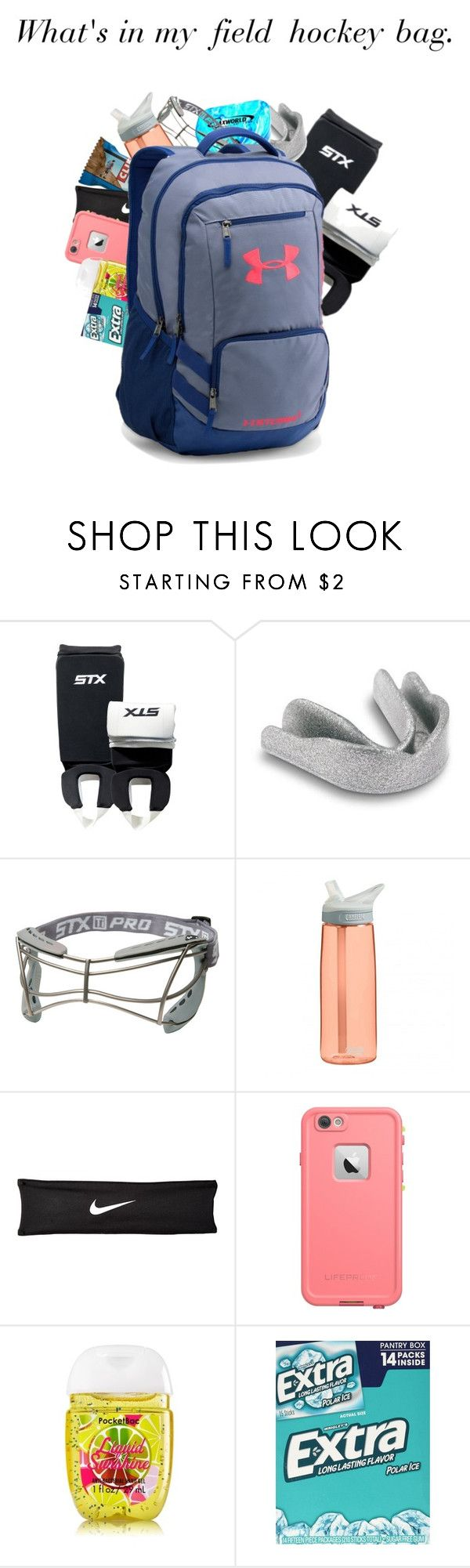 """""""What's in my field hockey bag. (plus my stick)"""" by keileeen ❤ liked on Polyvore featuring Shin Choi, CamelBak, NIKE, LifeProof, Wrigley's and Under Armour"""