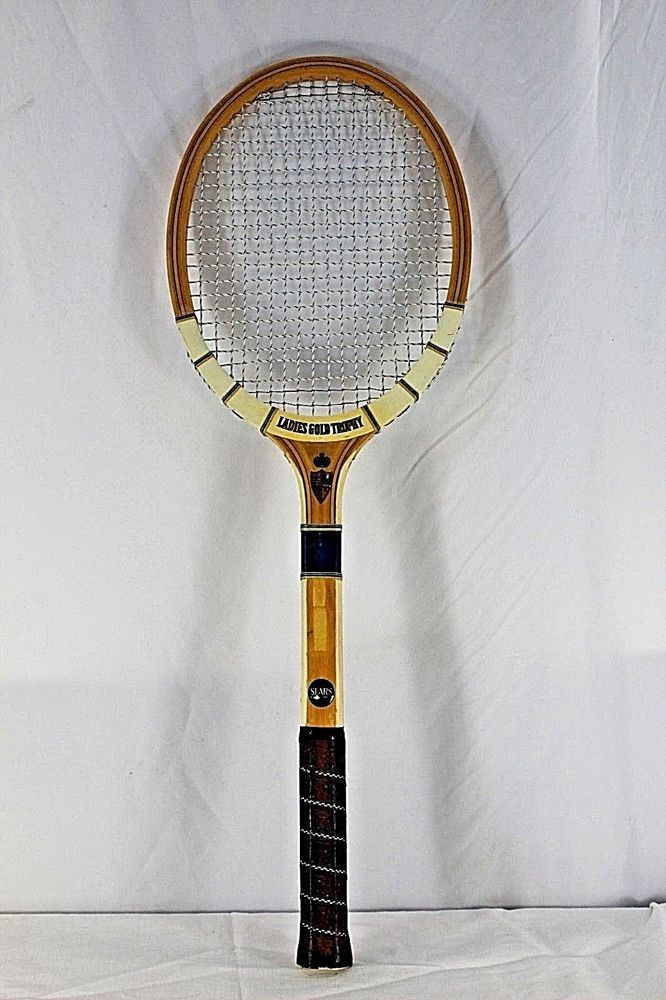 Vintage Sears Ladies Gold Trophy Wooden Tennis Racquet 1960 Made In