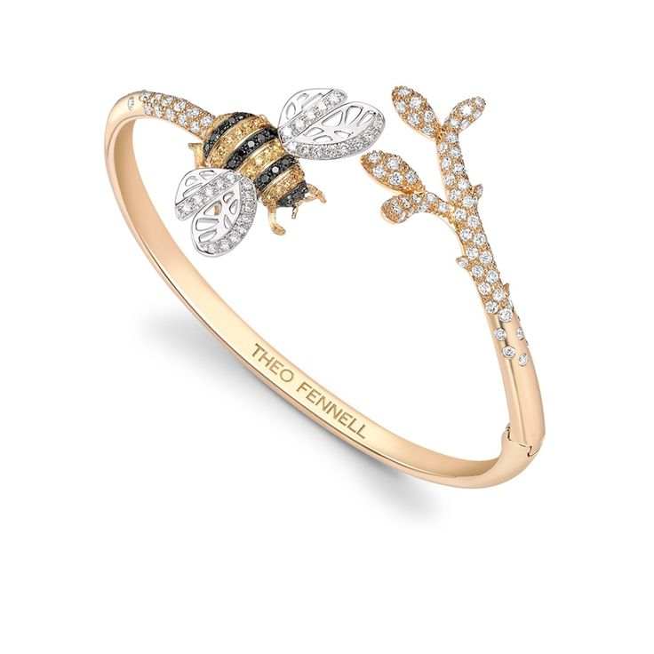 Black Diamond  Yellow Sapphire Bee Bangle - Part of the Beees Collection WOMEN'S JEWELRY http://amzn.to/2ljp5IH