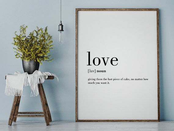 Love Funny Definition Print Printable Poster Wall von printabold