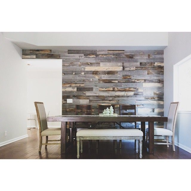 65 best images about barnwood on pinterest barn wood for Wood wall dining room