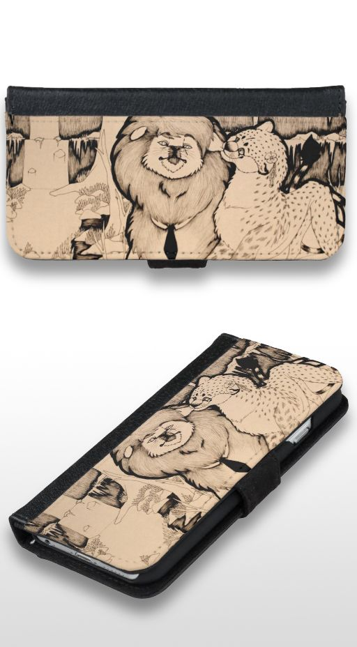 """Young Girl"" Cute black and white lion and cheetah couple illustration Wallet Phone Case"