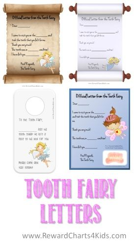 A selection of free printable Tooth Fairy Letters that can be personalized for your child!