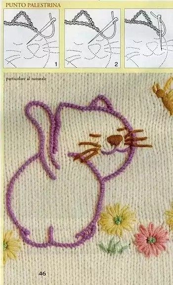 Embroidery, cat, outlined in Palestrina stitch.  See adjacent Pin for link to a YT video tutorial on how to do this stitch.