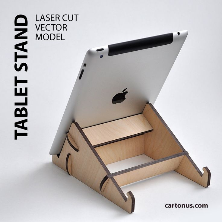 Tablet stand. Project plan for making tablet stand. Free vector model ready for lasercut.