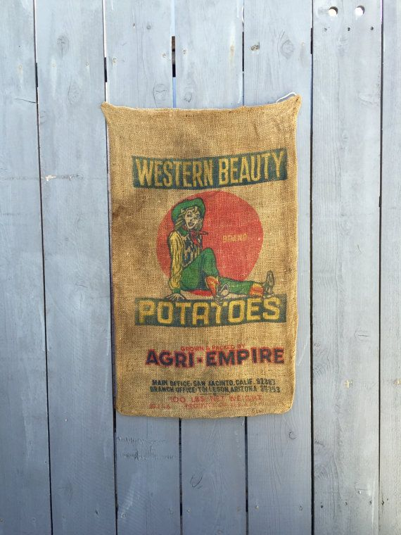 Vintage #Western Beauty Potatoes burlap sack. We have 4 available, each potato sack has its own imperfections and character such as holes, dirt and faded lettering. Each sac... #cowgirls #western