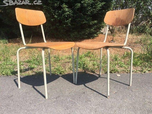 Školní židle 2 KUSY 70. LÉTA industriál - obrázek číslo 1
