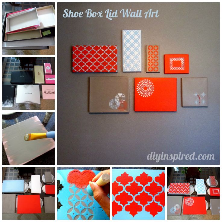 Shoe Box Lid Wall Art Collage. I would need different colors but the stencils are so pretty