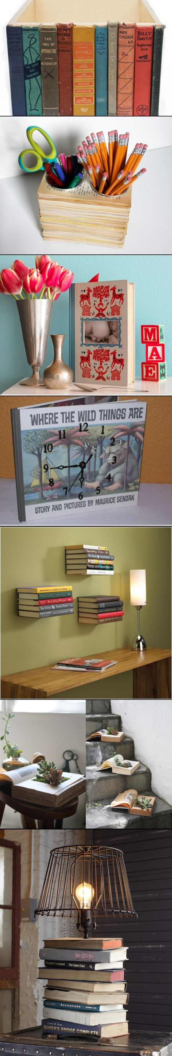 Upcycle Old Books For Kid Friendly Crafts>>Really wanna do the first two, and the closet in the guest room is full of worthless old books so yeah (: