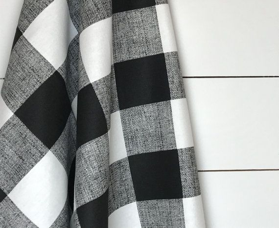 Black Cabin Checks Fabric by the Yard Designer Black White Buffalo Plaid Fabric Drapery Curtain or Upholstery Fabric Black Check Fabric B142