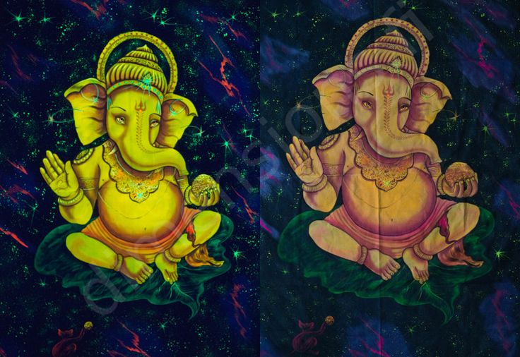 Handmade picture of Ganesh. Glows in UV light.