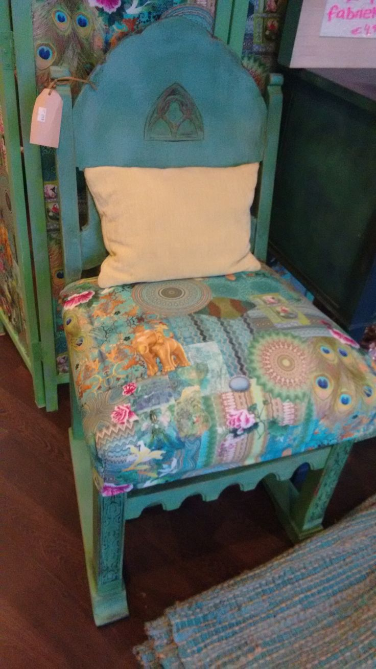 Convent chair. Painted in Antibes green and. Provence and reupholstered. Available for sale @ Dress it up Hilversum