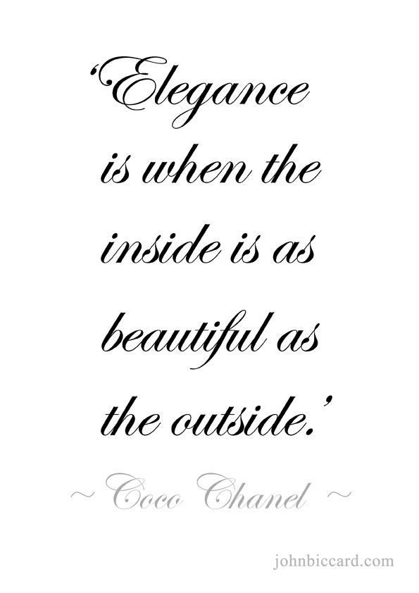 ♔ Elegance is when the inside is as beautiful as the outside