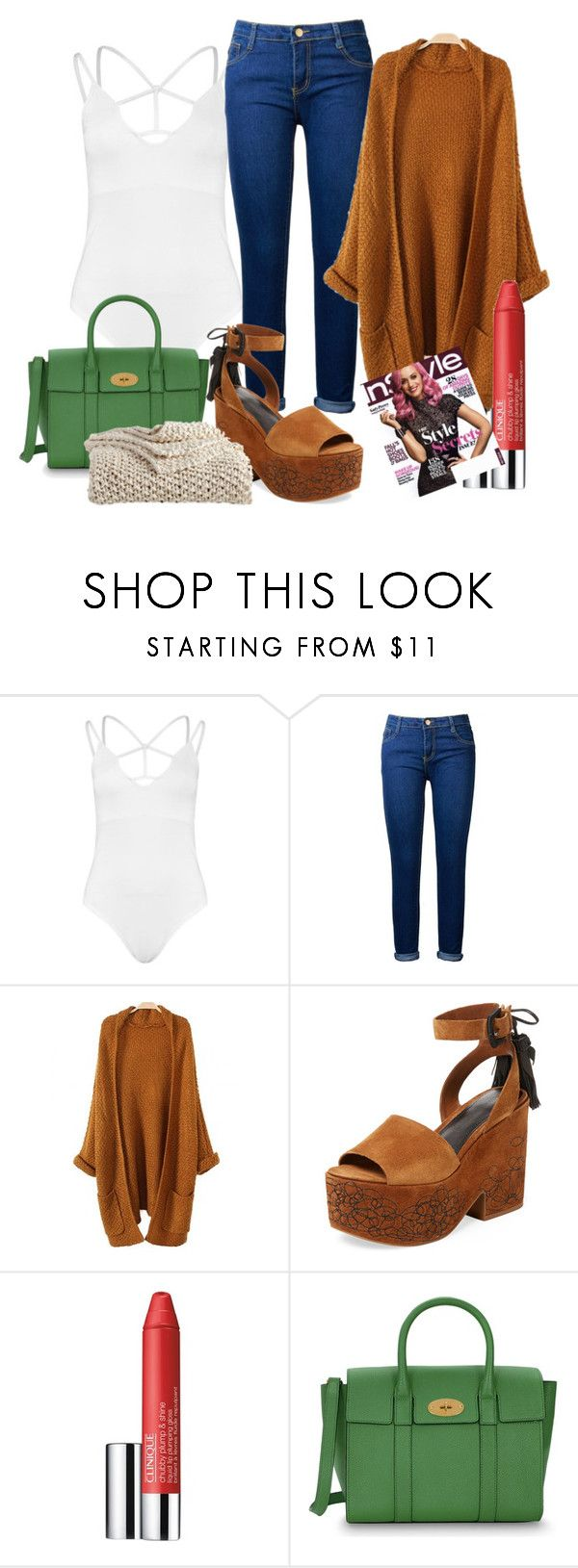 """""""This is what I look like without kids"""" by juanita-cherrell-taylor ❤ liked on Polyvore featuring Boohoo, Sigerson Morrison, Clinique, Mulberry and DKNY"""