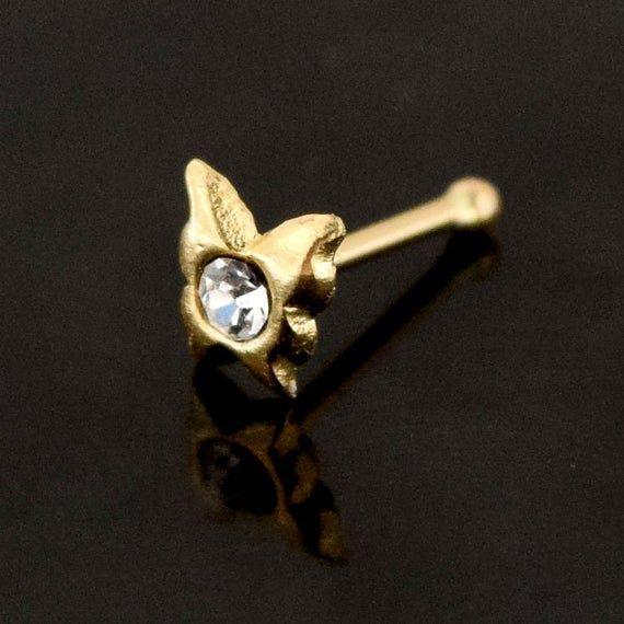 Nose Stud Butterfly 9k Gold 22g Nose Bone Ball Body Piercing 0.6mm