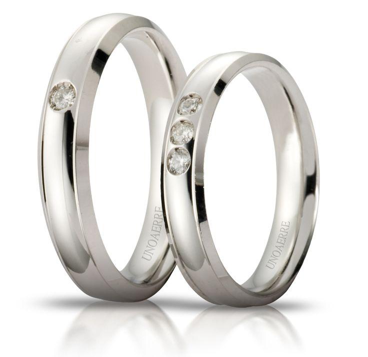 Fede matrimoniale Unoaerre orion oro bianco con diamante