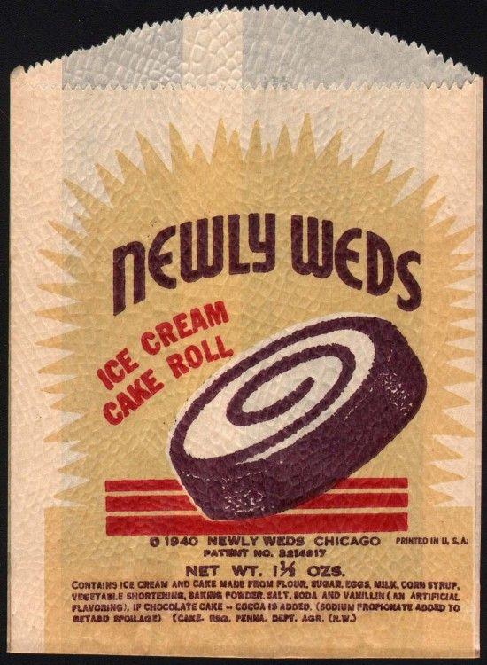 Vintage Newlyweds Ice Cream Cake Roll Wrapper Vintage