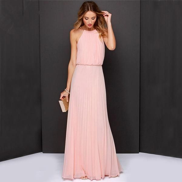 Beautiful Pink Maxi Halter Top Sleeveless Dress