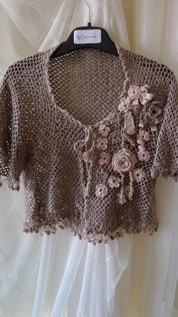 Crocheted Flowered Bolero mini jacket light coffee by fyboutique,