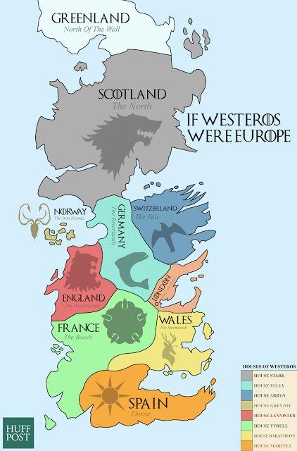 Europakarte von Game of Thrones - Wenn Game of Thrones Europa wäre