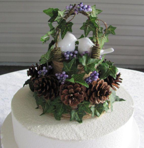 Rustic Wedding Cake Topper Love Birds Unique One Of A Kind Design