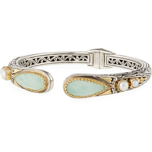 Konstantino Sea Blue Agate-Tip Hinge Bracelet ($1,260) ❤ liked on Polyvore featuring jewelry, bracelets, blue, blue jewelry, 18k bangle, konstantino jewelry, agate bangle and blue agate jewelry