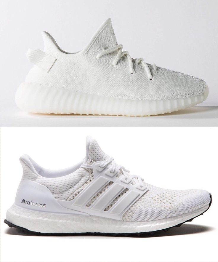 (Top: Yeezy Boost 350 Cream Bottom: Ultra Boost All White