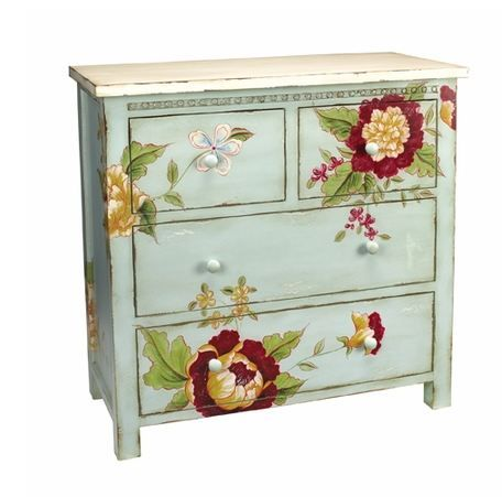I'm a sucker for painted furniture - whether new, vintage or antique. Love this aqua piece with its huge flowers asymmetrically arranged. Such a charmer!