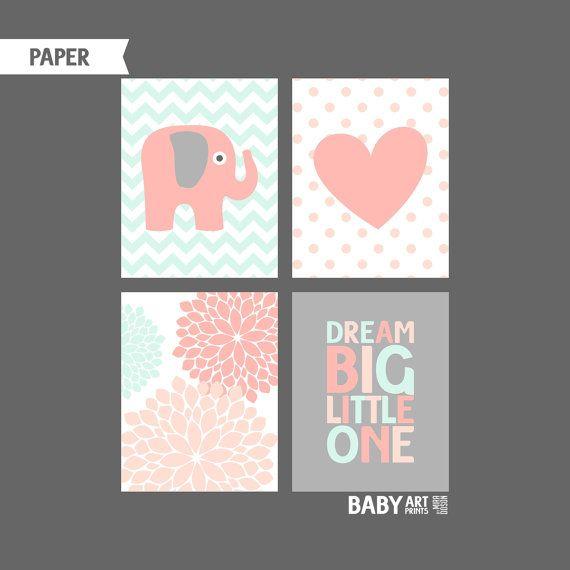 Peach Light Coral Grey Mint Girl Nursery prints by babyartprints