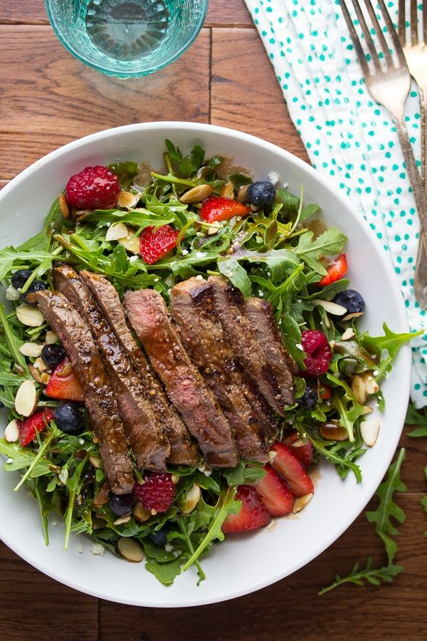 Strawberry Arugula Salad with Steak & Balsamic Vinaigrette (goat cheese and maple syrup are easy subs)