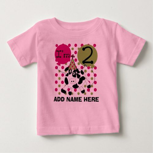 Personalized Pink Cow 2nd Birthday Tshirt