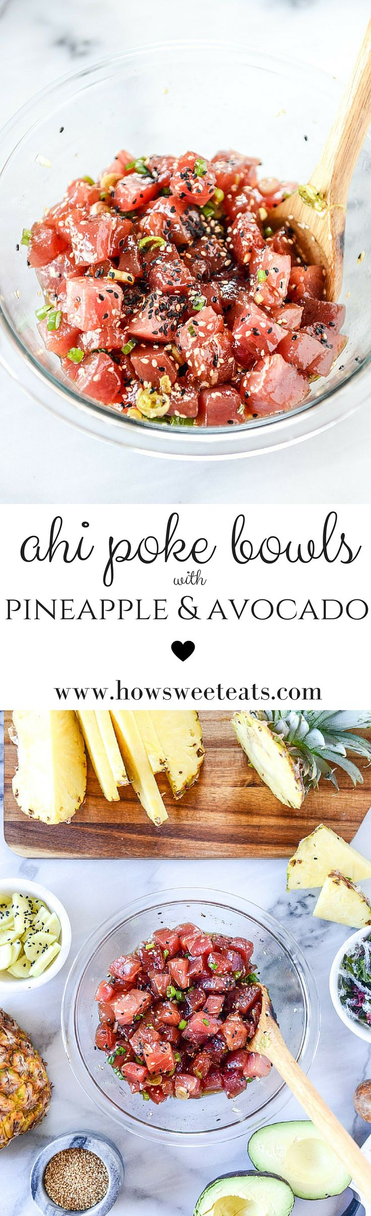ahi poke bowls with pineapple and avocado by @howsweeteats I howsweeteats.com