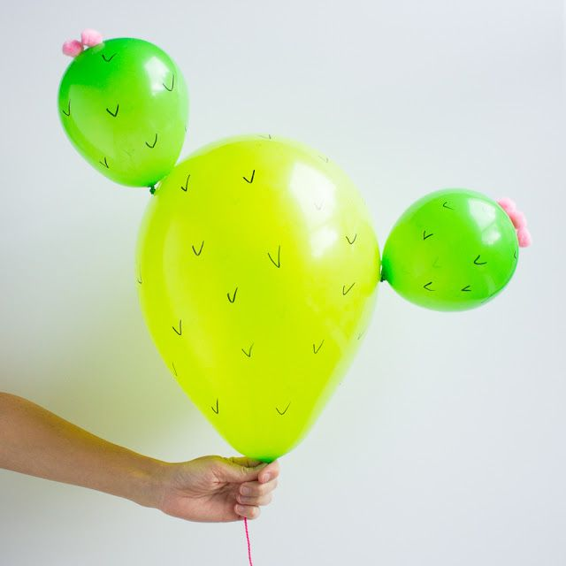 Loving the cactus trend? Then you have to try these DIY prickly pear cactus balloons!