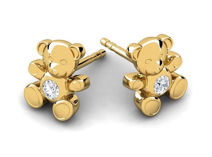 Cuddle Bear 14K Gold Children and Baby Diamond Earrings – Fiola Jewelry