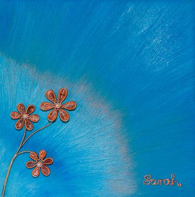 Wire Art on canvas: Copper wire flowers on a blue painted canvas by Sarah Jansma