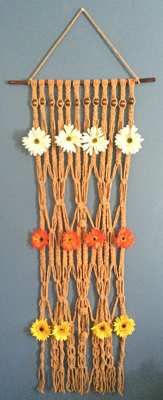 Macrame Wall Hanging Long Wooden Beaded Floral Macrame