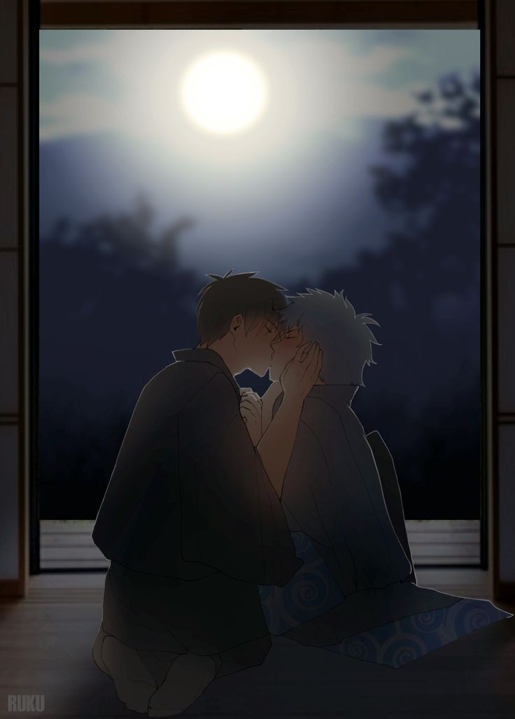 Our first kiss under the moon