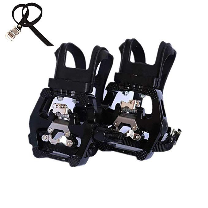 Namucuo Spd Pedals Hybrid Pedal With Toe Clip And Straps Suitable For Spin Bike Indoor Exercise Bikes And All I Indoor Bike Workouts Indoor Bike Spin Bikes