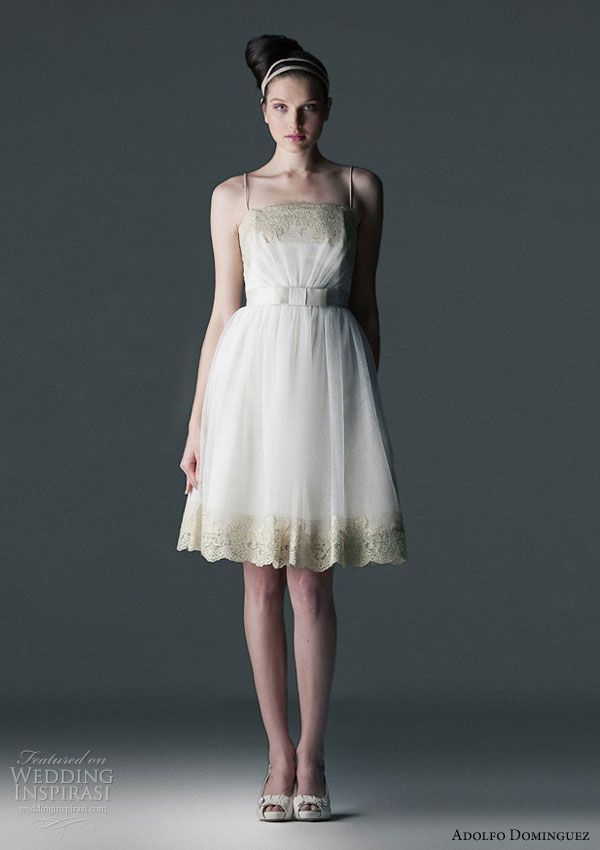 Adolfo Domingues 2010 wedding gowns - short dress in lace and tulle finished in gold lurex. bow detail at waist