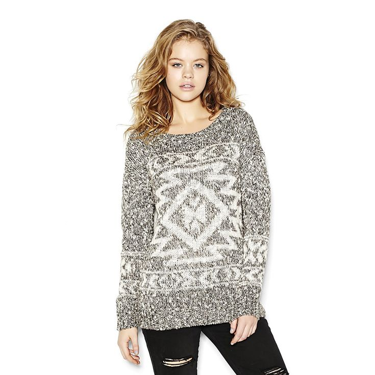 Oversized Jacquard Slouchy Sweater.