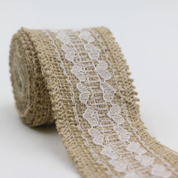 1 m bricolage dentelle ruban couture ruban naturel jute - Rouleau toile de jute ...