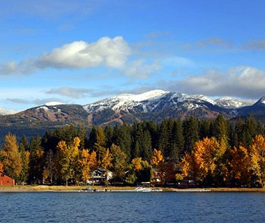 America's Best Towns for Fall Colors: Whitefish, MT Whitefish Lake doorway to Glacier National Park in the Flathead Valley.follow highway 35 along east side of lake