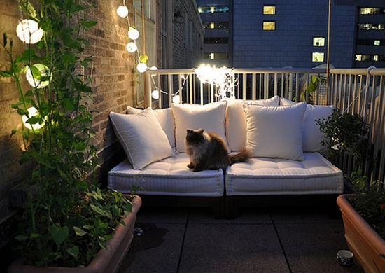 cozy seating on small balcony