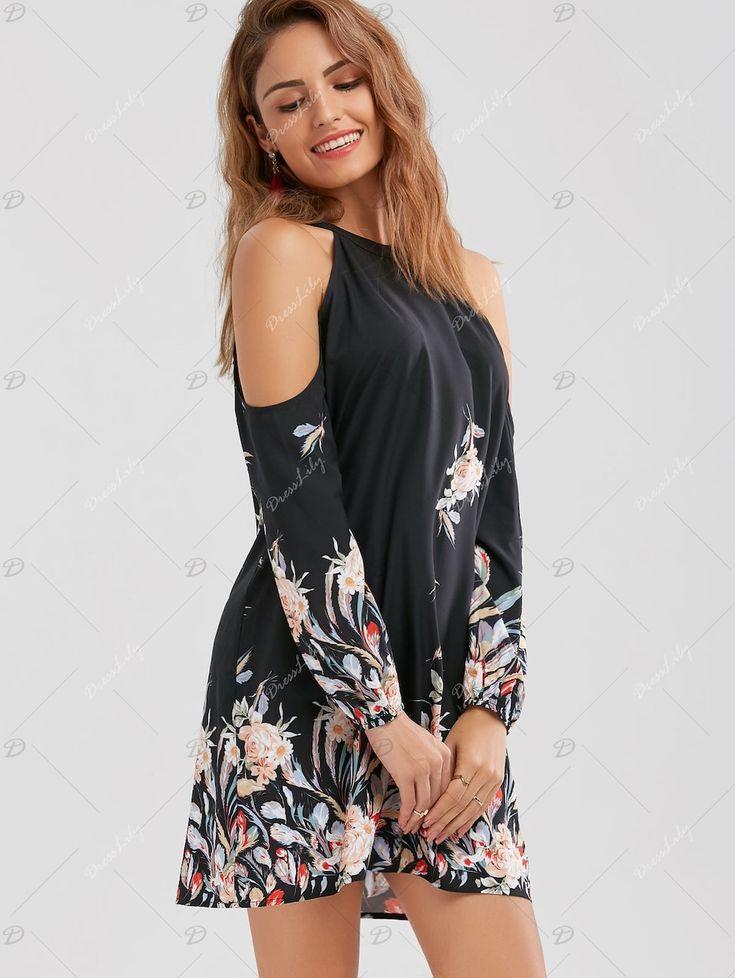 Cold Shoulder Floral Border Print Shift Dress - BLACK M