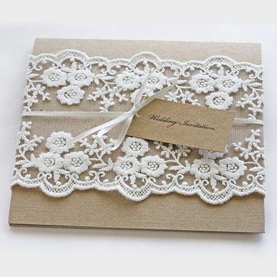 Rustic Lace wedding invitations pocket fold