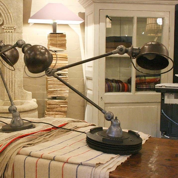 FRENCH 1940 S ADJUSTABLE TWO ARM ANGLE POISE LAMP - Vintage Floor and Table Lamps
