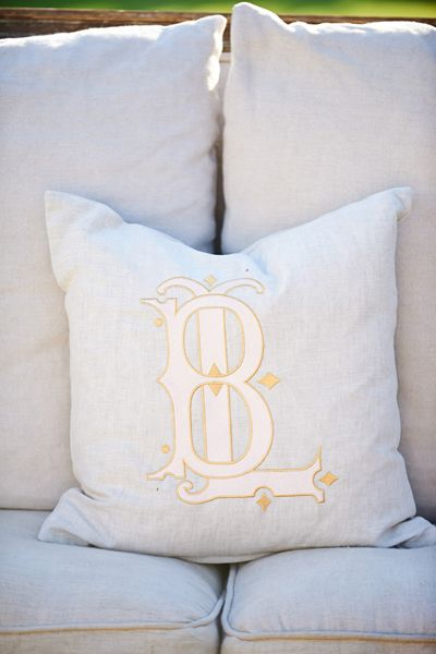 custom monogram pillow | Sarah & Rocky #wedding
